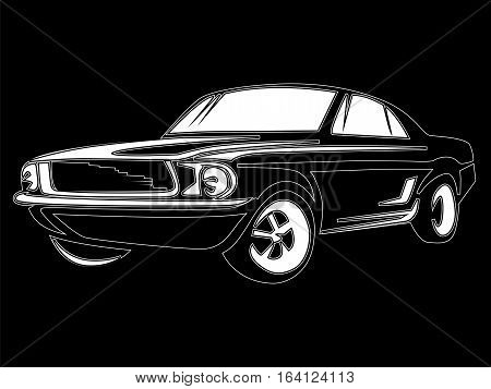Muscle Car Isolated On Black