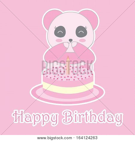 Birthday illustration with cute baby pink panda and birthday cake suitable for birthday invitation card, greeting card, and postcard