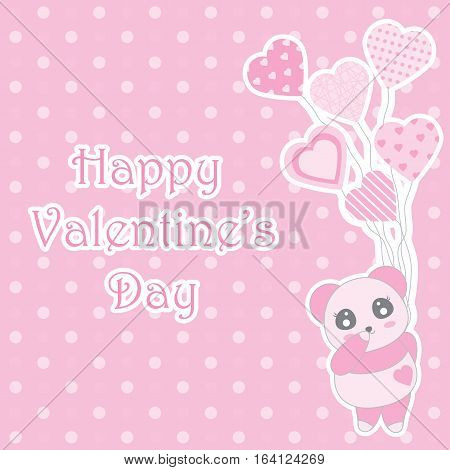 Valentine's day illustration with cute baby pink panda brings balloons on polka dot background suitable for Valentine's day greeting card, invitation card and postcard