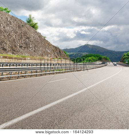 Highway in the Italian Apennines in the Spring