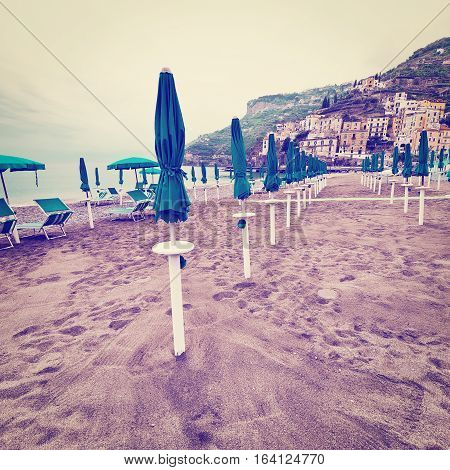 Beach Umbrellas on the Background of the Italian City of Minori Instagram Effect