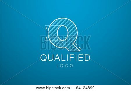 Logo Template Letter Q  In The Style Of A Technical Drawing.