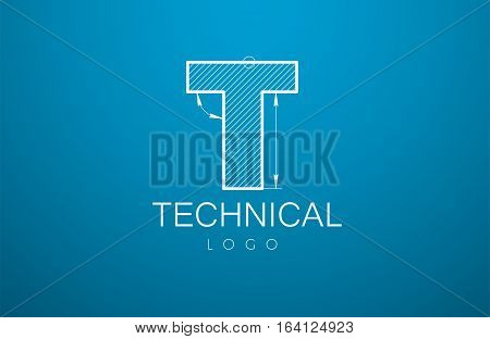 Logo Template Letter T In The Style Of A Technical Drawing.