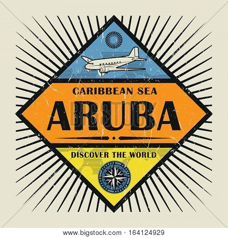 Stamp or vintage emblem with airplane compass and text Aruba Discover the World vector illustration