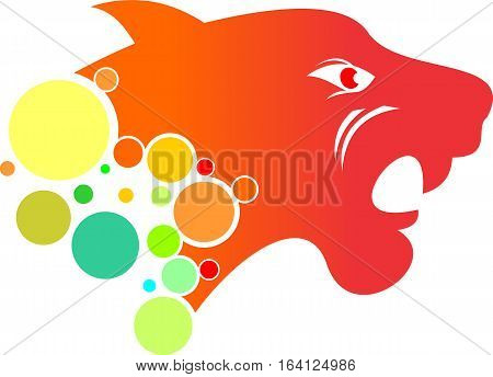 logo illustration animal cat bubble with colorful