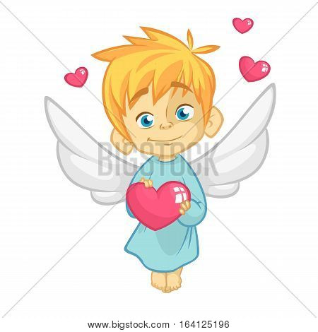 Illustration of a Baby Cupid Hugging a Heart. Cartoon illustration of Cupid character for St Valentine's Day isolated on white