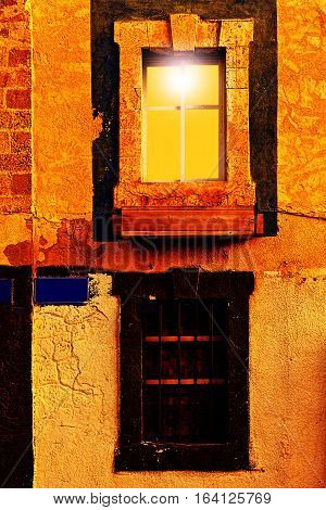 Israel Old Windows Decorated with Ceramic Flower Wooden Box in Jaffa at Night