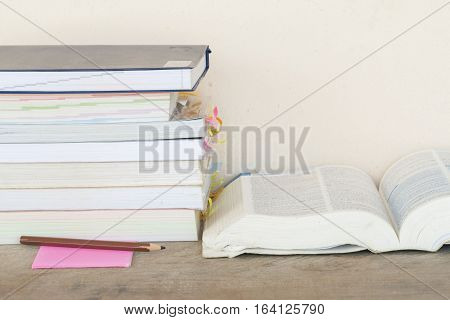 background all book and dictionary english for study on table