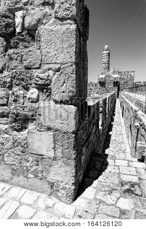Part of the wall surrounding the Old City in Jerusalem Israel. An important Jewish religious site. Black and White Picture