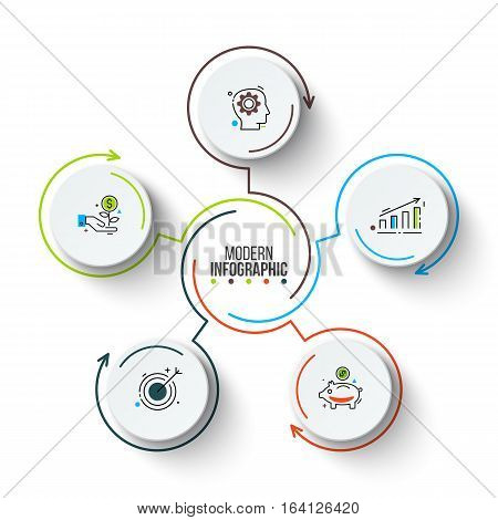 Vector circle infographic. Template for cycle diagram, graph, presentation and round chart. Business concept with 5 options, parts, steps or processes. Stroke icons.