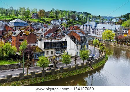 Embankment of the River Ourthe in the Belgian City of La Roche
