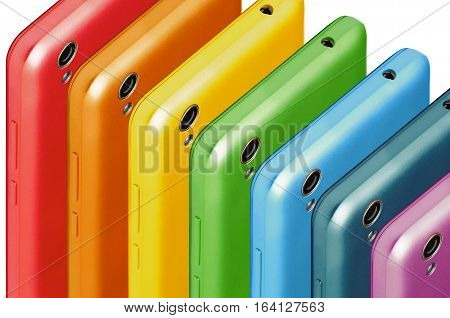 a number of phones consisting of the colors the colors of the rainbow