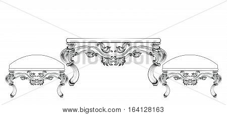 Baroque luxury style furniture set collection. Upholstery with luxurious rich ornaments. French carved decoration. Vector Victorian exquisite