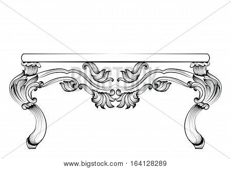 Rich Baroque Table. French Luxury rich carved ornaments decorated furniture. Vector Victorian Royal Styles
