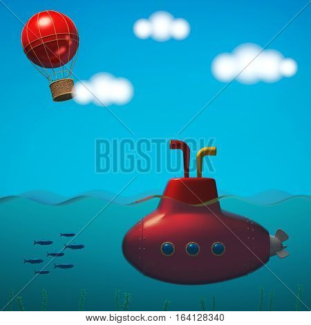 Sea with submarine and sky with balloon in cartoon style. 3D rendering