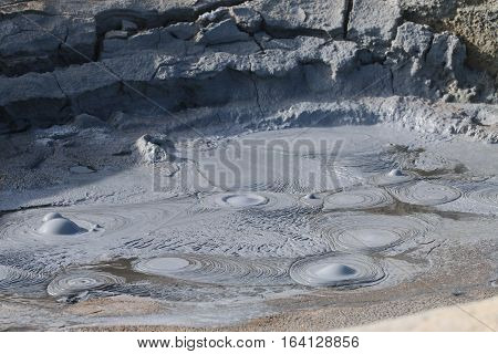 Steaming Mud Pots in the Namaskard geothermal area. Iceland