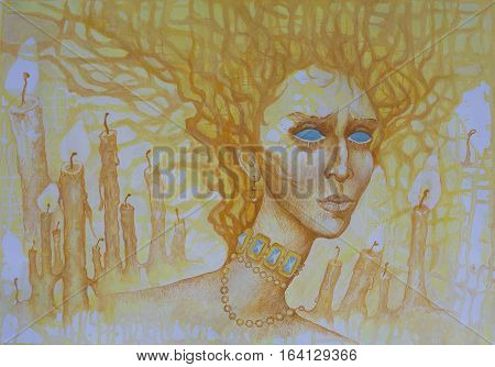Watercolor allegorical  portrait of a girl symbolizing the light of the sun