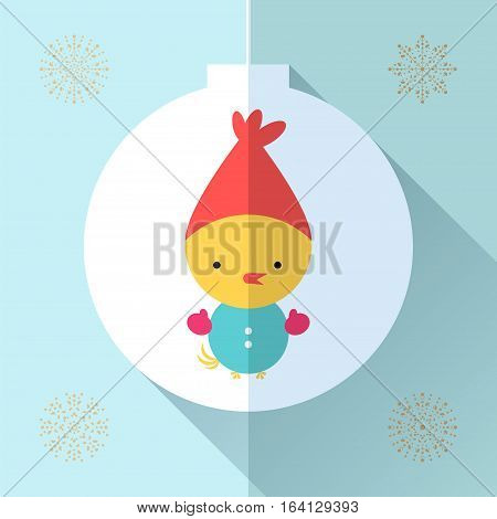 Chiken flat icon design. Toy for children. Vector symbol for web, print and greeting card Merry Christmas.
