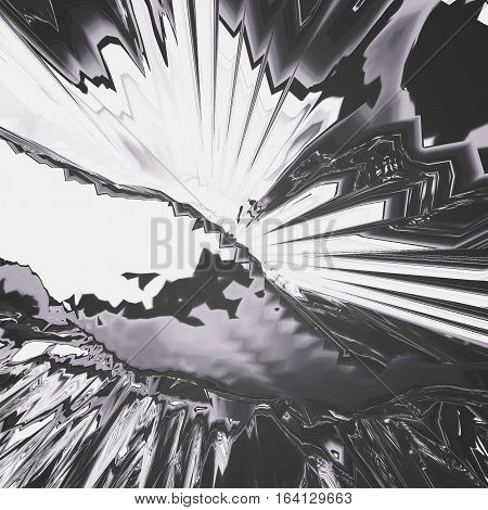 Background of glitch manipulations with 3D effect. Abstract mochrome flow of crystals. It can be used for web design and visualization of music