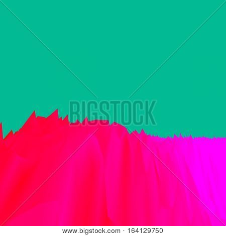 Background of glitch manipulations with 3D effect. Abstract landscape with sharp peaks in red shades on green background. It can be used for web design and visualization of music.