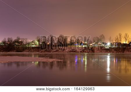 View of Neva River at evening on the outskirts of St. Petersburg Russia.