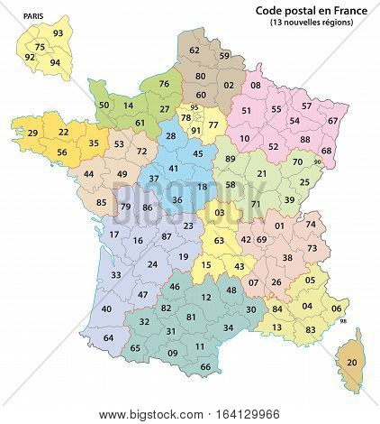 france 2-digit postcodes map 2017 (13 Regions)