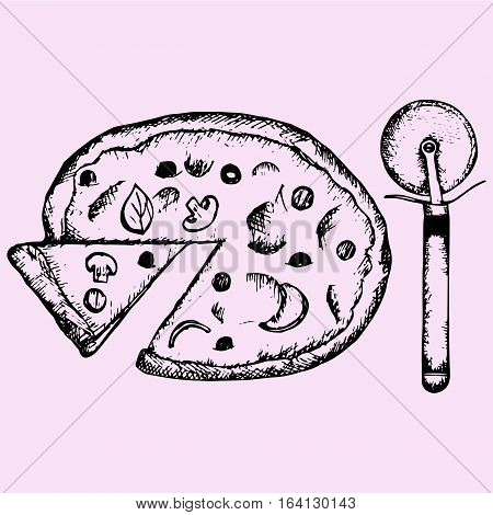 pizza, dough cutter, doodle style sketch illustration hand drawn vector