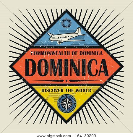 Stamp or vintage emblem with airplane compass and text Dominica Discover the World vector illustration