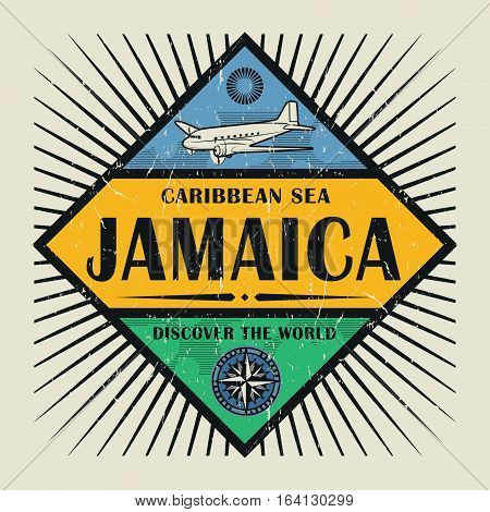 Stamp or vintage emblem with airplane compass and text Jamaica Discover the World vector illustration