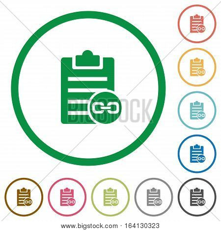 Note attachment flat color icons in round outlines on white background