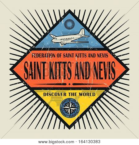Stamp or vintage emblem with airplane compass and text Saint Kitts and Nevis Discover the World vector illustration