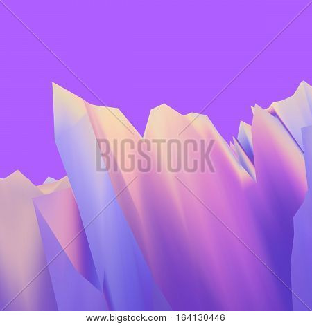 Background of glitch manipulations. Abstract landscape with sharp peaks in the pink lilac and yellow colors. It can be used for web design and visualization of music.