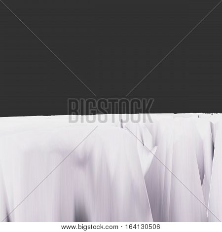 Background of glitch manipulations with 3D effect. Abstract white landscape on black background. It can be used for web design and visualization of music.