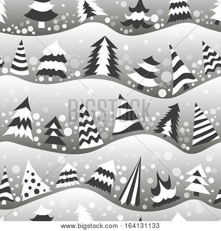 Seamless New Year vector pattern of different Christmas trees on the hills. Black and white trees with falling snow on gray background.