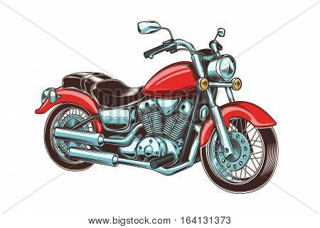 Vector illustration of hand-drawn vintage motorcycle. Classic chopper. Print for T-shirts