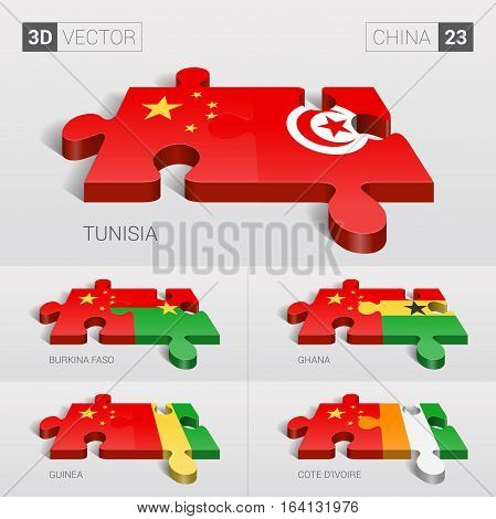 China and Tunisia, Burkina Faso, Ghana, Guinea, Cote d'Ivoire Flag. 3d vector puzzle. Set 23.