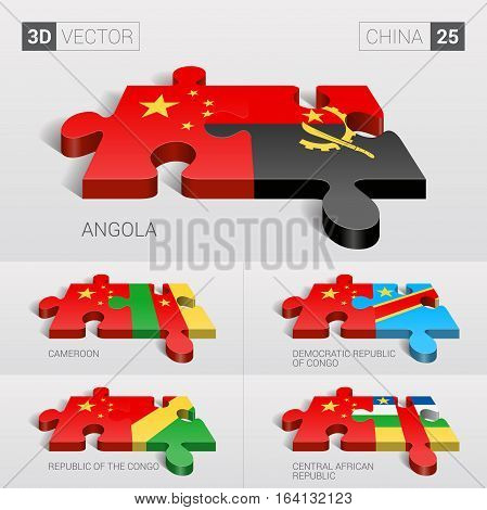 China and Angola, Cameroon, Democratic Republic of Congo, Republic of the Congo, Central African Republic Flag. 3d vector puzzle. Set 25.