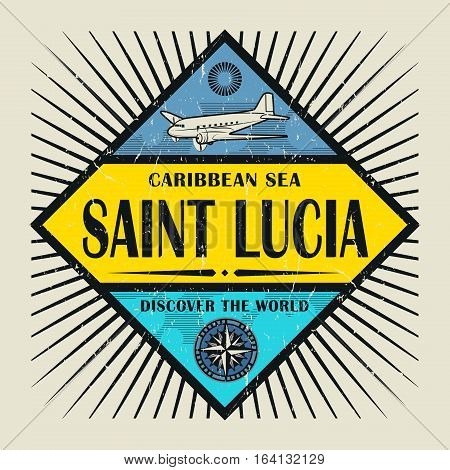 Stamp or vintage emblem with airplane compass and text Saint Lucia Discover the World vector illustration