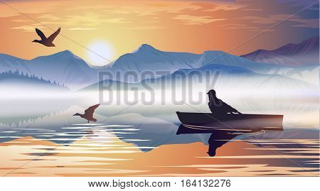 Vector illustration of a man floating in a boat on the lake