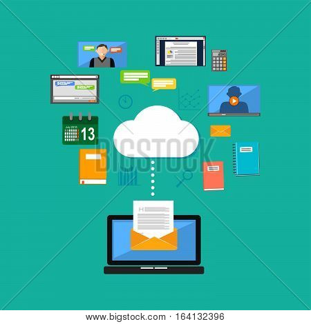 Connecting to cloud computing concept. Accessing cloud contents. Multimedia internet contents.