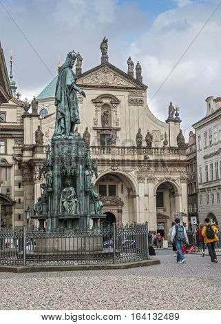 Church of St. Salvator. Monument to Charles IV near the Charles Bridge in Prague Old Place .