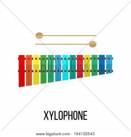 Isolated image of xylophone on white background. Vector illustration in flat style design.