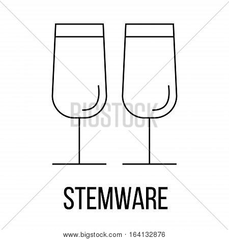 Stemware icon or logo line art style. Vector Illustration.