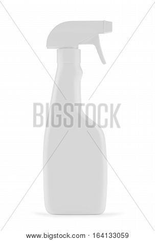 White blank plastic spray detergent bottle isolated on background. Packaging template mockup collection. With clipping Path included. 3d rendering.