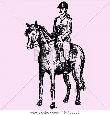 Equestrian sport, woman in gear sitting on a horse doodle style sketch illustration hand drawn vector