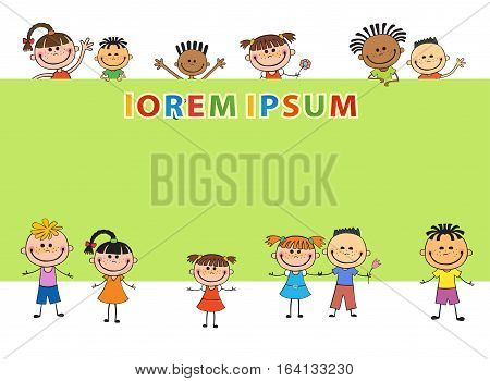 illustration of kids bunner around banner behind poster vector green background