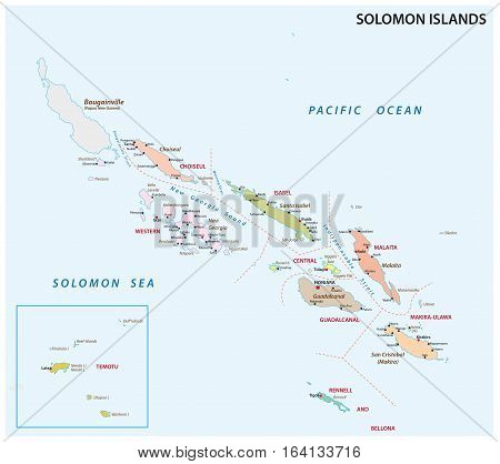 solomon Islands administrative and political vector map