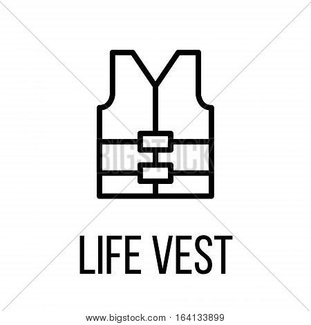 Life vest icon or logo in modern line style. High quality black outline pictogram for web site design and mobile apps. Vector illustration on a white background.