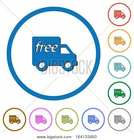 Free shipping flat color vector icons with shadows in round outlines on white background