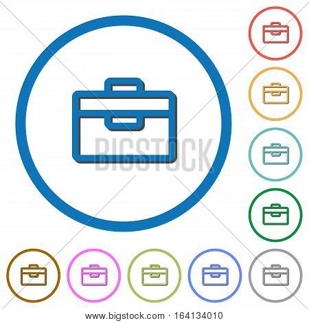Toolbox flat color vector icons with shadows in round outlines on white background